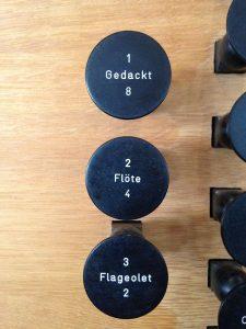 Gedackt, Flöte und Flageolet in Manual II